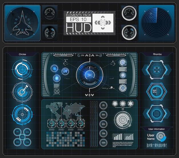 Un grand ensemble d'éléments hud, graphiques, écrans, instruments analogiques et numériques, échelles radar.
