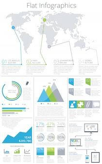 Grand ensemble d'éléments infographiques plat vector illustration