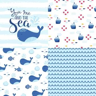 Grand ensemble d'éléments marins mignons pour cartes et autocollants. modèles de dessins animés de la mer. pour anniversaire, anniversaire, invitations à des fêtes, scrapbooking, t-shirt, cartes. illustration vectorielle