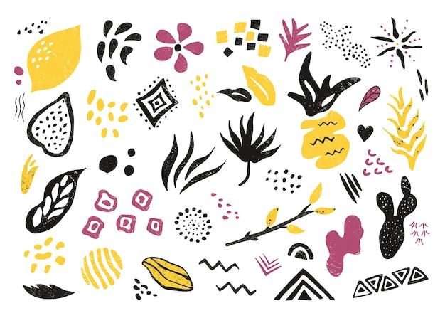 Grand ensemble d'éléments et de symboles texturés dessinés à la main. motifs abstraits pour impressions, dessins, cartes de voeux