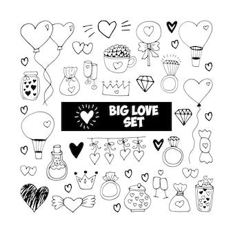 Grand ensemble d'éléments vectoriels de griffonnage pour les cartes, les affiches, l'emballage et le design de la saint-valentin. coeur dessiné à la main, isolé sur fond blanc. forme géométrique et symbole.