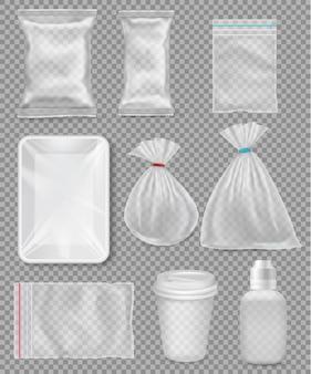Grand ensemble d'emballages en plastique polypropylène - sacs, plateau, tasse sur fond transparent. illustration vectorielle