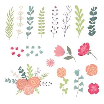 Grand ensemble de feuilles vertes, de brindilles et de fleurs. concepteur d'éléments de design