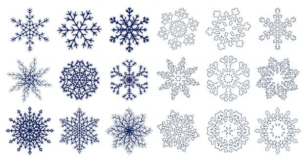 Grand ensemble de flocons de neige bleus