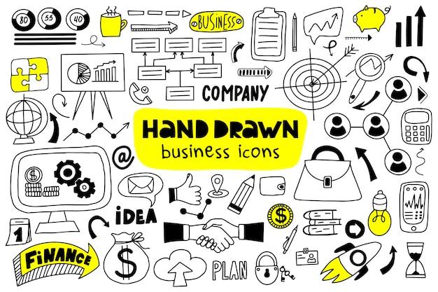 Grand ensemble d'icônes d'affaires dessinés à la main.