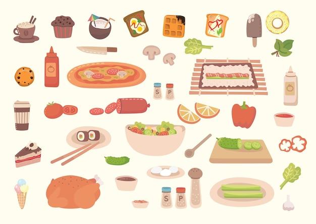 Grand ensemble d'icônes alimentaires, style plat. fruits, légumes, viande, pain, restauration rapide, bonbons. icône de repas isolé sur fond blanc. collecte d'ingrédients