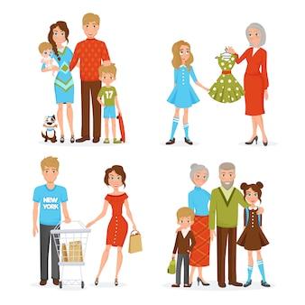 Grand ensemble d'icônes de famille