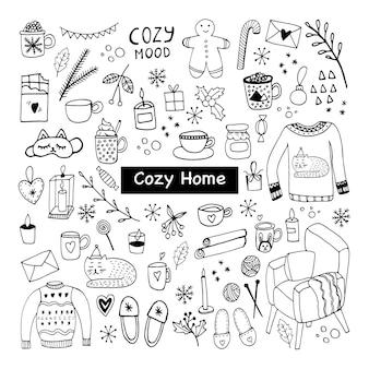 Grand ensemble d'icônes hygge illustration vectorielle chaude et confortable dessinée à la main éléments d'hiver