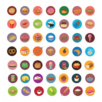 Grand ensemble d'icônes de nourriture