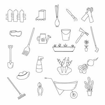 Grand ensemble d'icônes sur le thème du jardinage et de la plantation de plantes. illustration vectorielle dans le style doodle.
