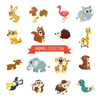 Grand ensemble d'illustration animaux mignons en style cartoon