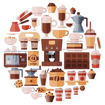 Grand ensemble d'illustration d'équipement de café.