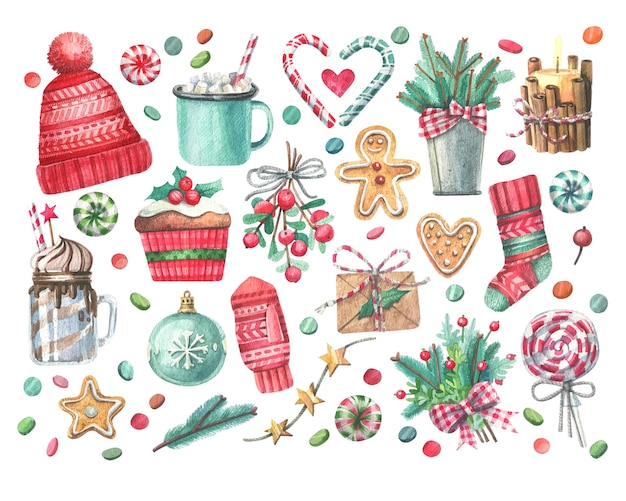 Grand ensemble d'illustrations à l'aquarelle sur le thème de noël.