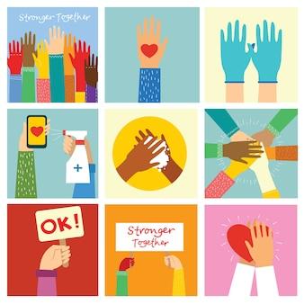 Grand ensemble d'illustrations de mains différentes. fort ensemble de nombreuses mains en l'air. main avec livre. lavage des mains. construction d'équipe. mains tenant le coeur.