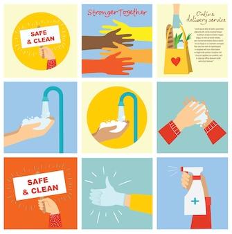 Grand ensemble d'illustrations de mains différentes. fort ensemble de nombreuses mains. lavage des mains. construction d'équipe.