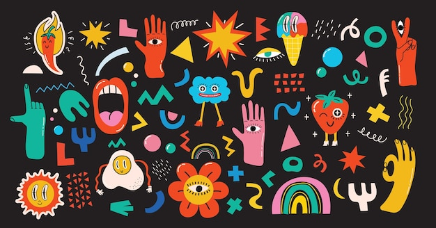 Grand ensemble d'illustrations vectorielles de différentes couleurs au design plat de dessin animé. formes abstraites dessinées à la main, drôle mignon