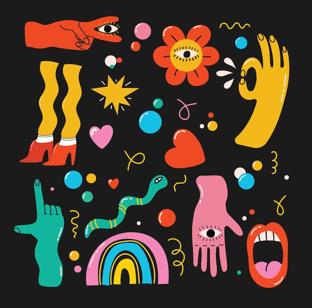 Grand ensemble d'illustrations vectorielles de différentes couleurs au design plat de dessin animé. formes abstraites dessinées à la main, personnages comiques drôles.