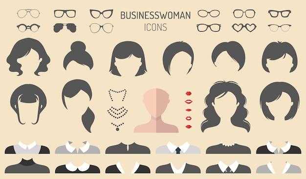 Grand ensemble d'images vectorielles de constructeur d'habillage avec différentes coupes de cheveux de femme d'affaires, lunettes, sauts, usure.