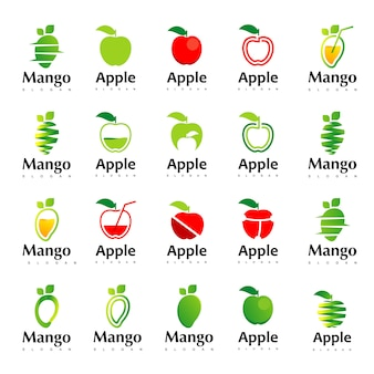 Grand ensemble d'inspiration pour le logo apple et mango