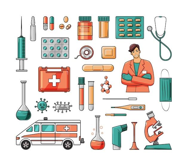 Grand ensemble d'instruments médicaux, éléments colorés de médicaments. dessin animé.