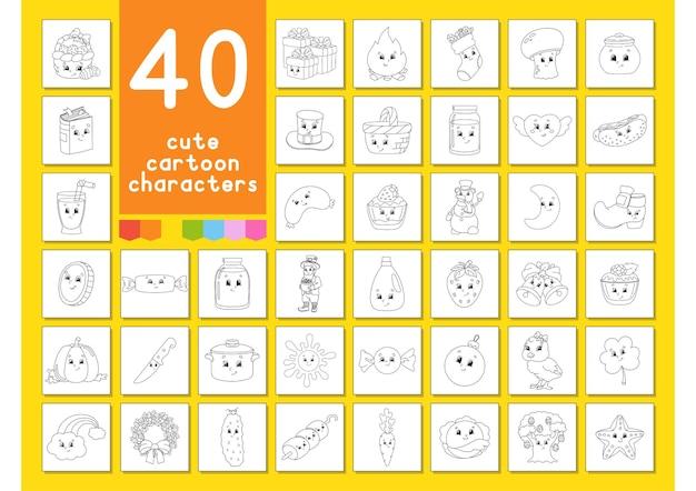 Un grand ensemble de livres à colorier personnages de dessins animés mignons pages pour colorier l'été de noël