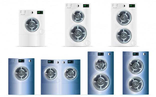 Grand ensemble de machines à laver à chargement frontal en acier blanc et bleu double