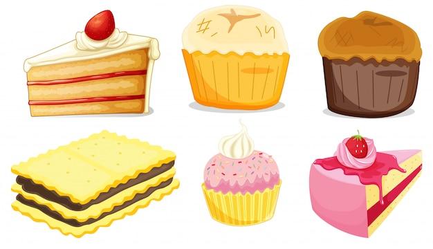 Grand ensemble de menus différents pour les desserts sur fond blanc