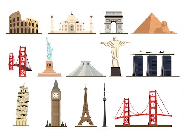 Grand ensemble de monuments célèbres du monde isolé sur fond blanc.