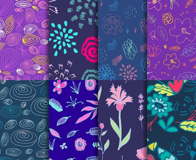Grand ensemble de motifs lumineux pour les couleurs tendance de fond web