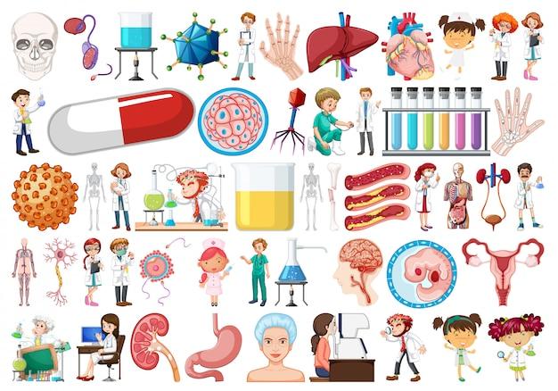 Grand ensemble d'objets médicaux
