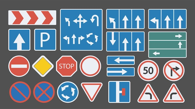 Grand ensemble de panneaux de signalisation design plat coloré