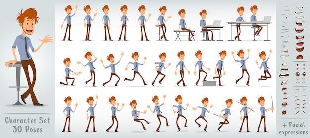 Grand ensemble de personnage de dessin animé mignon garçon de bureau