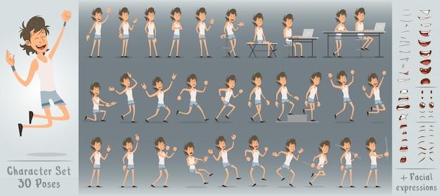 Grand ensemble de personnage de dessin animé mignon sport garçon