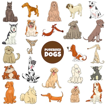 Grand ensemble de personnages de chiens de race pure