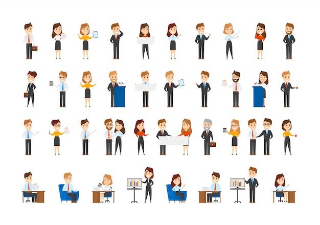 Grand ensemble de personnages commerciaux. collection d'employés de bureau occupés dans différentes situations.