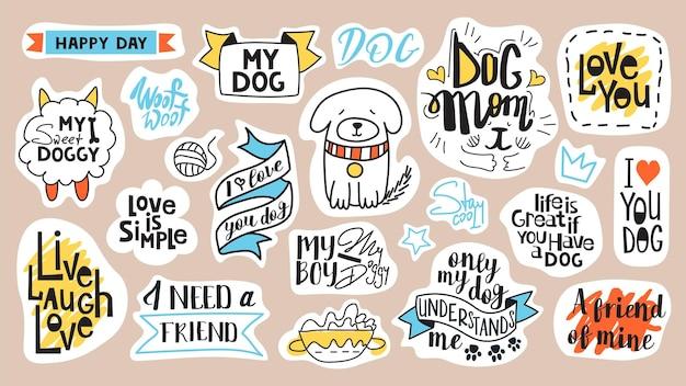 Grand ensemble de phrases de motivation, de citations et d'autocollants. thème du chien et numéro de sen 1. mots manuscrits pour chaque production de design.