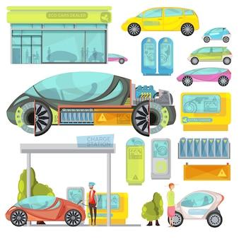 Grand ensemble plat coloré de voitures eco electro et stations de recharge isolés sur fond blanc