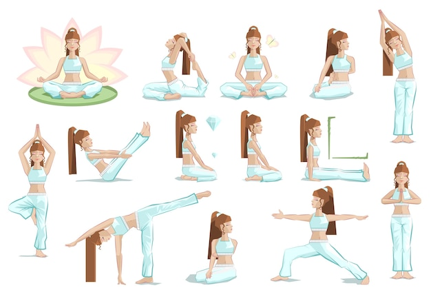 Grand ensemble pose de yoga féminin. illustration isolée
