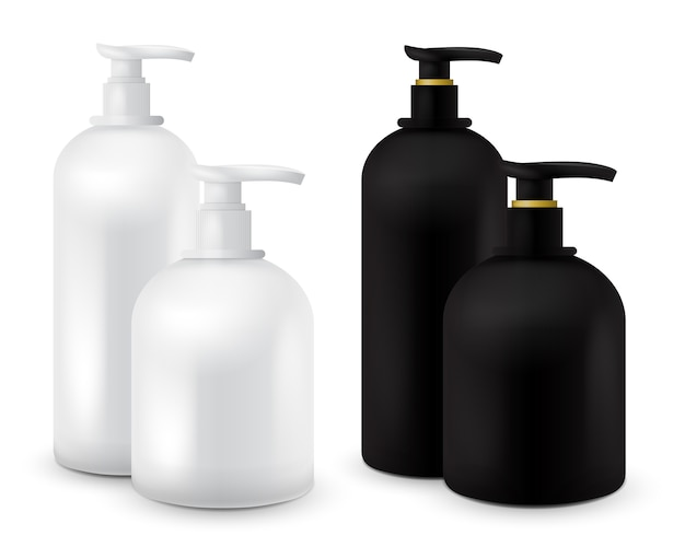 Grand ensemble de pot avec du savon liquide pour votre logo et le design est facile de changer les couleurs. conteneur cosmétiques noir et blanc réaliste pour la crème de savon, lotion. maquette de bouteille.