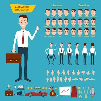 Grand ensemble pour l'animation d'un personnage d'homme d'affaires sur blanc