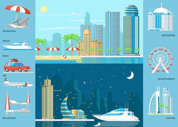 Grand ensemble pour la station et le tourisme infographique avec des plages de transport mégapole