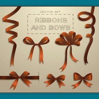 Grand ensemble de rubans bruns et arcs pour coffrets cadeaux plat isolé