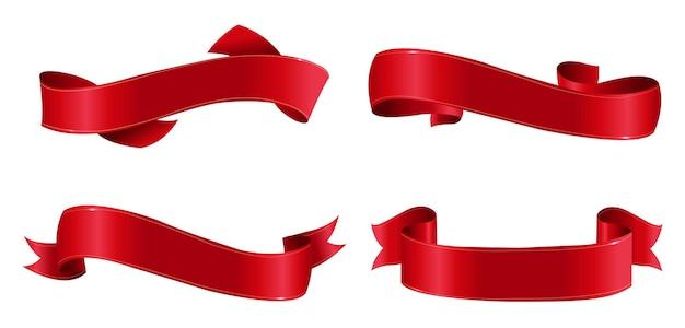 Grand ensemble de rubans rouges isolés