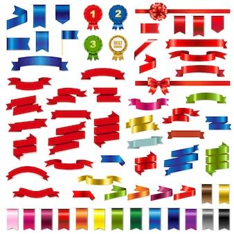 Grand ensemble de rubans web colorés