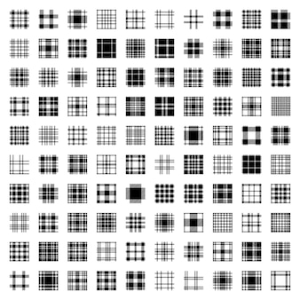 Grand ensemble sans couture de motif tartan à carreaux. cent motifs originaux et uniques. texture de tissu à carreaux à carreaux de vecteur design plat blanc noir.