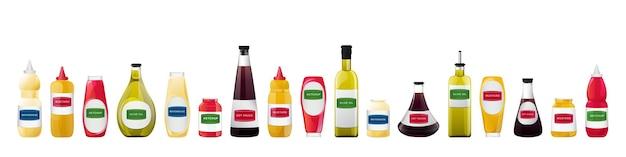 Grand ensemble de sauces en bouteilles soja huile d'olive moutarde ketchup et sauces mayonnaise