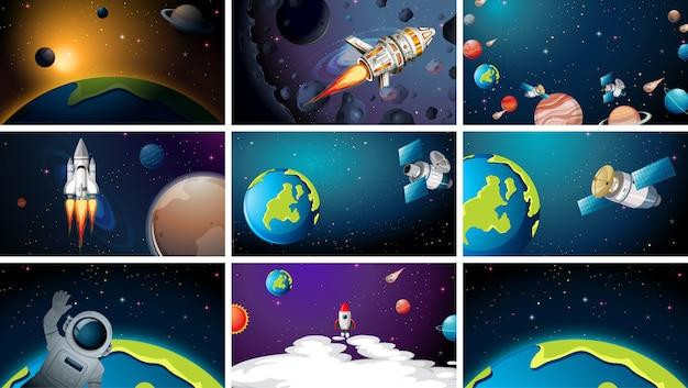Grand ensemble de scènes de l'espace ou de fond