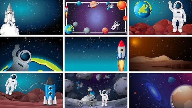 Grand ensemble de scènes de l'espace