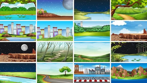 Grand ensemble de scènes ou de fond de nature, urbaine, d'usine et rurale
