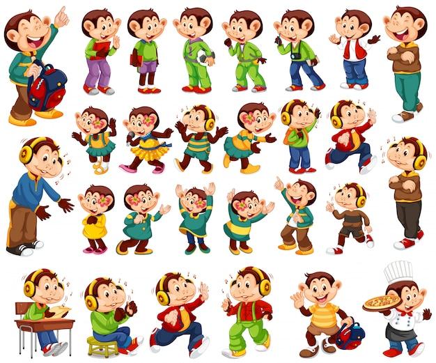 Grand ensemble de singes heureux dans différents costumes